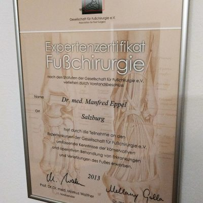 Zertifikat Fußchirurgie web